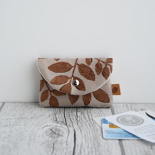 PILEA Porta carte in tessuto corda stampato a mano - disegno FOLIAGE