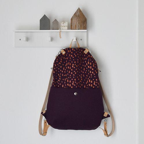 Zaino borsa Peromelo in tessuto viola stampato a mano - SASSOLINI RAME