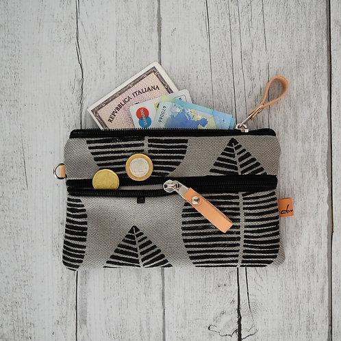 FICUS portafoglio in tessuto grigio stampato a mano - FOGLIA NERA