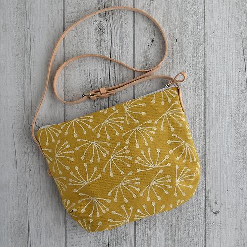 Calatea, borsa a tracolla in tessuto giallo stampato a mano - ANETO