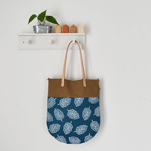 Ginestra shopper bag, borsa in tessuto stampato a mano - FOGLIA DANILLA