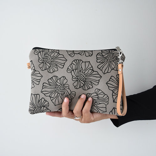 CHENZIA Pochette grande in tessuto grigio stampato a mano - SAKURA