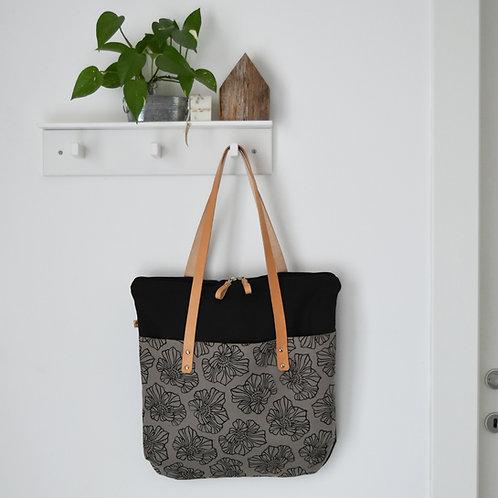 Betulla - Tote bag in tessuto grigio stampato a mano - SAKURA