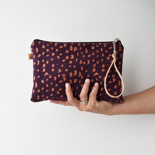 CHENZIA Pochette grande in tessuto viola stampato a mano - SASSOLINI RAME