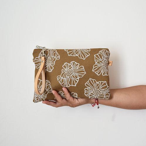 CHENZIA Pochette grande in tessuto tabacco stampato a mano - SAKURA