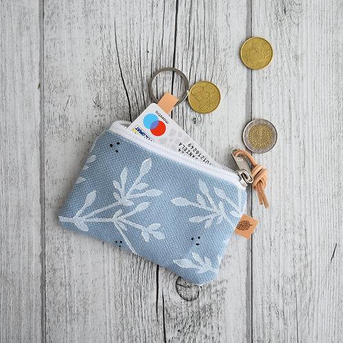 Pochette Mini Passiflora - in tessuto celeste stampato a mano - BACC