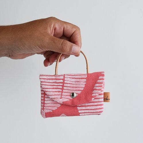 Pilea bis - Mini borsetta in tessuto corallo stampato a mano - FOGLIA