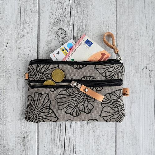 FICUS portafoglio in tessuto grigio stampato a mano - SAKURA