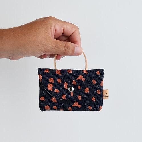 Pilea bis - Mini borsetta in tessuto denim stampato a mano - SASSOLINI
