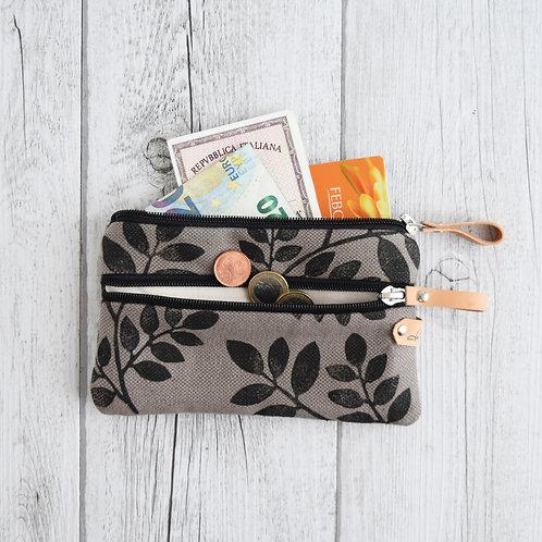 FICUS il portafoglio a bustina in tessuto stampato a mano - FOLIAGE