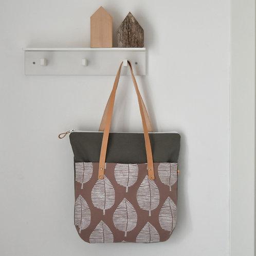 Betulla, borsa in tessuto nude e grigio stampato a mano - FOGLIA