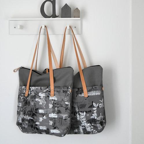 Betulla tote bag, borsa in tessuto stampato a mano - Coll. IMMAGINARIO