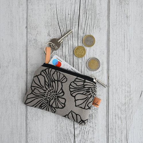 Mini Maranta - Pochette in tessuto grigio stampato a mano - SAKURA