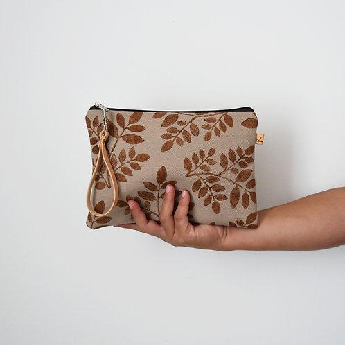 CHENZIA Pochette in tessuto corda stampato a mano - FOLIAGE