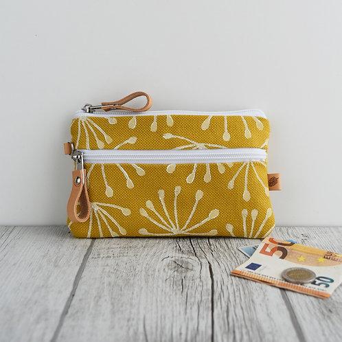 FICUS - portafoglio in tessuto giallo stampato a mano - ANETO