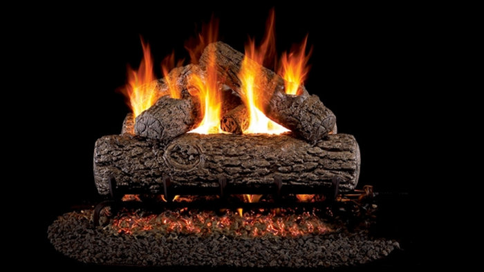 "Real Fyre 18"" Golden Oak Vented Natural Gas Logs Set & G4 Burner system"