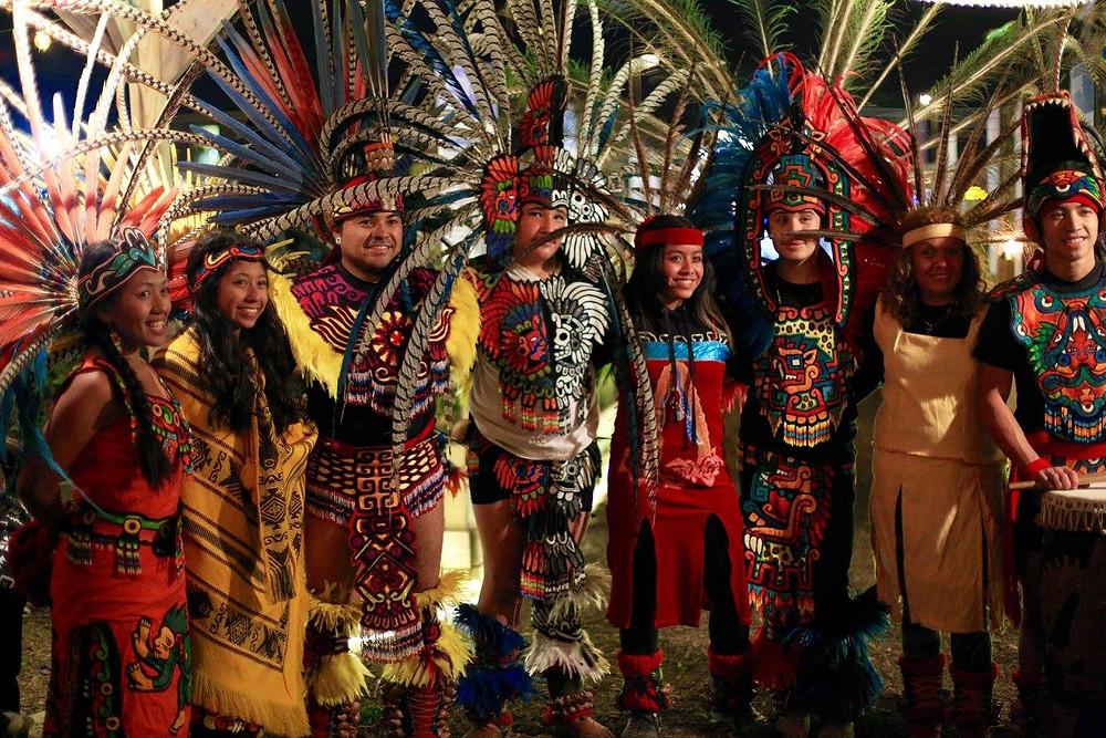 2015 photo of the Kalpulli Yaocenoxtli Mexica Azteca Dance Group