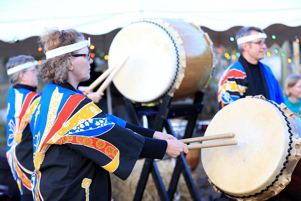 2015 photo of the Taikollaborative Japanese Drumming Ensemble