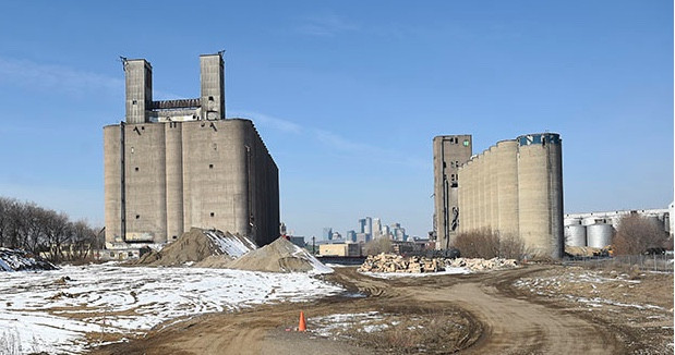 Grain elevators on the 20-acre Wall Companies property