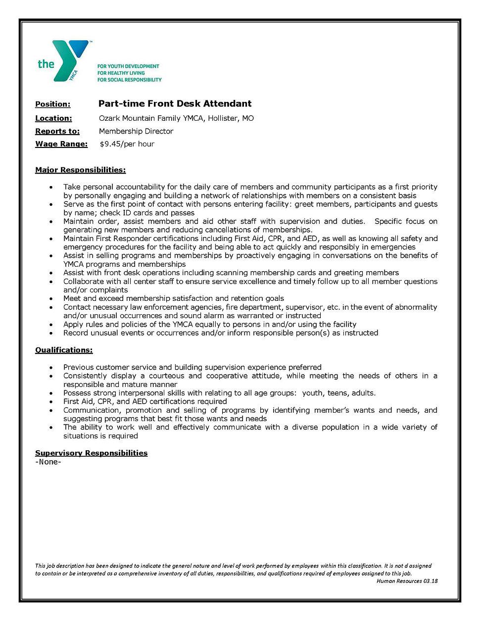 OzarkMountainFront Desk Job Description.