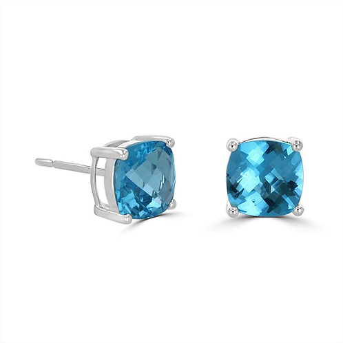 Empire Collection Cushion Cut Blue Topaz Earrings