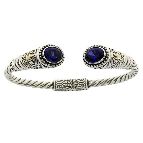 Sterling Created Sapphire Bracelet