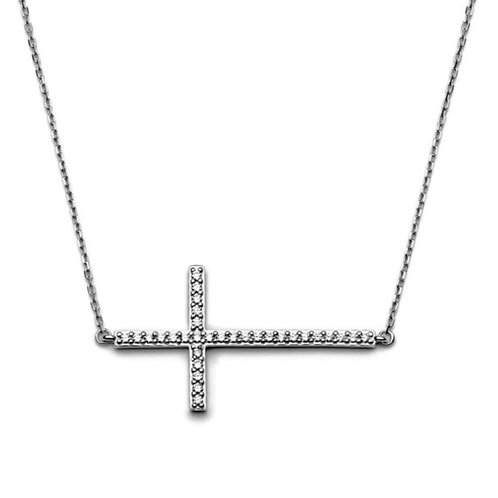 Sterling Large CZ Cross Necklace