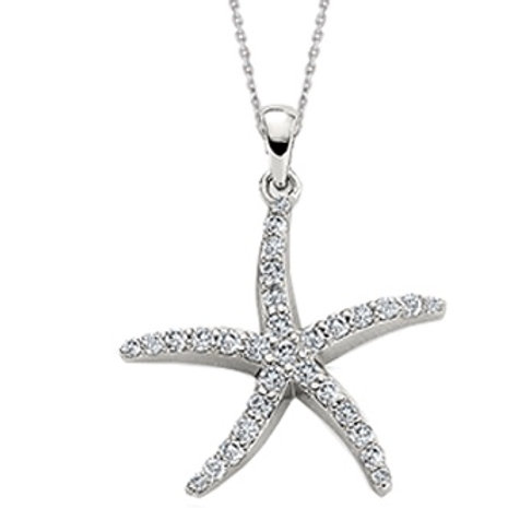 14k White Gold Diamond Starfish Pendant