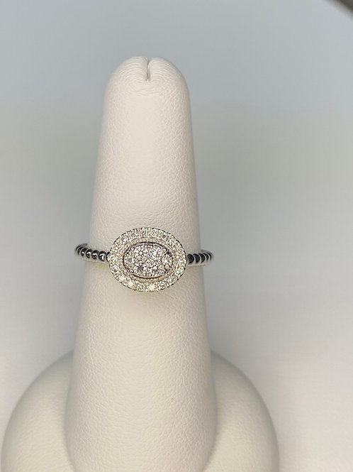 Cluster Diamond Ring with Beaded Band