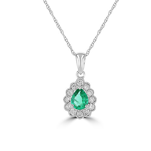 EMPIRE Pear Halo Emerald Pendant
