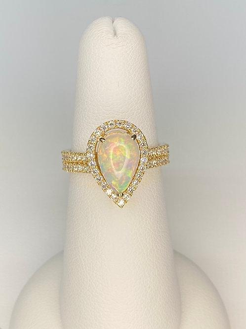 Pear Ethiopian Opal Ring