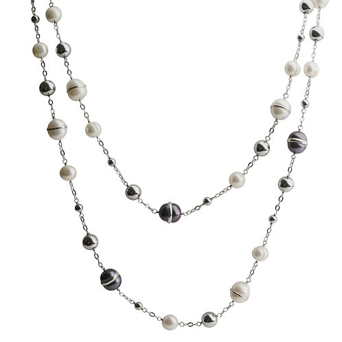Imperial Pearl Silver Black and White FW Pearl/Hematite Necklace