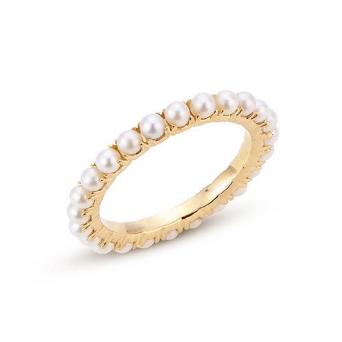 Imperial Pearl 14k Eternity FWCP Seed Ring