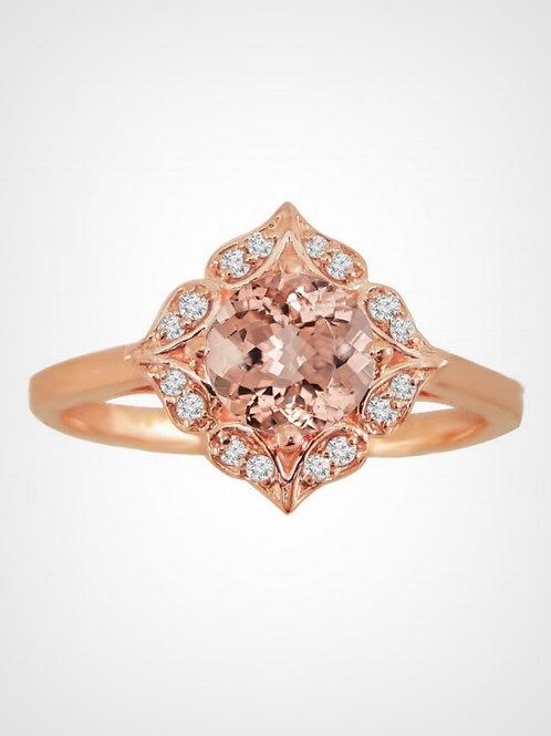 1.00ct 14k Rose Gold Morganite Floral Ring