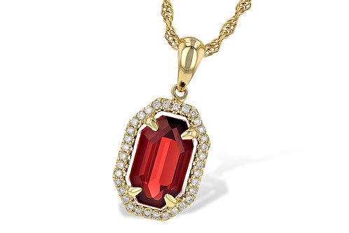 Allison Kaufman Yellow Gold Garnet Necklace