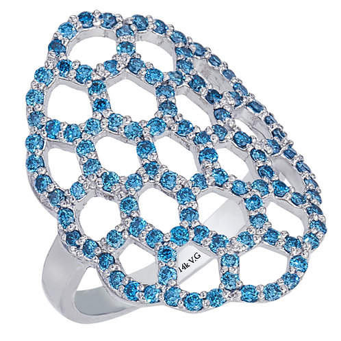 Blue Diamond Honeycomb Ring