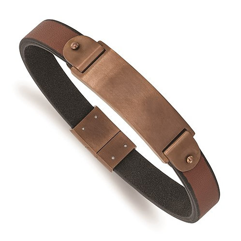 Stainless Steel Brushed Brown IP-Plated Brown Leather 8.5in ID Bracelet