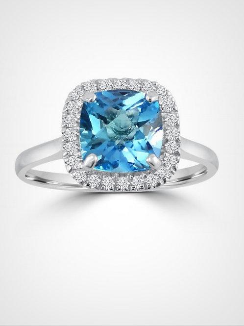 2.55ct Cushion Blue Topaz Halo Ring