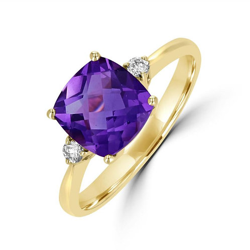 Empire Collection Yellow Gold Amethyst Ring