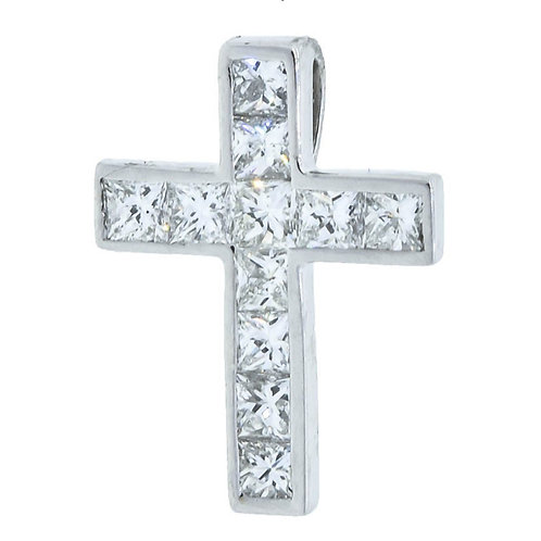 APEX Princess Cut Diamond Cross Necklace