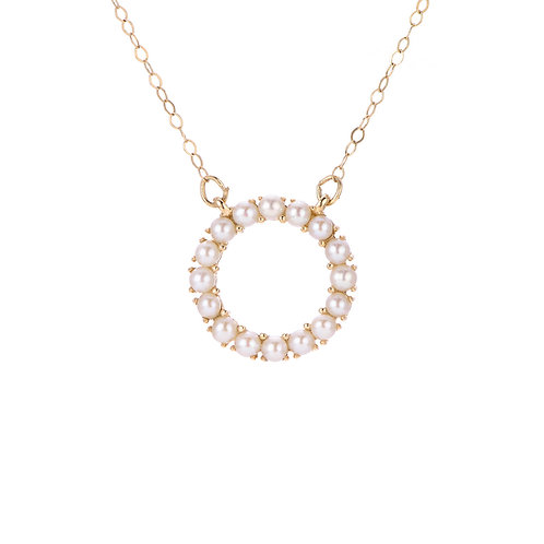 14k Seed Pearl Circle Necklace