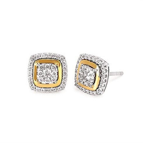 Ostbye Two Tone Diamond Cushion Earrings
