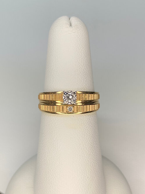 Yellow Gold Miracle Head Engagement Ring Set
