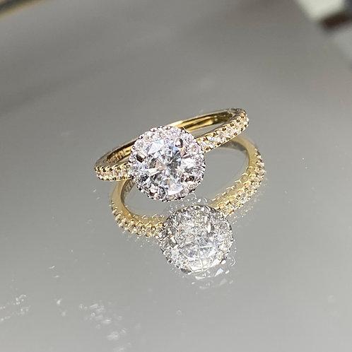 14k Diamond Halo Engagement Ring
