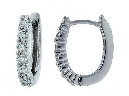 Oval Diamond Huggies