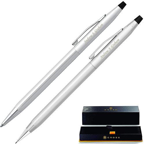 Classic Century Lustrous Chrome Pen and Pencil Set