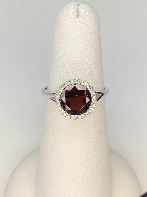 Garnet Halo Ring