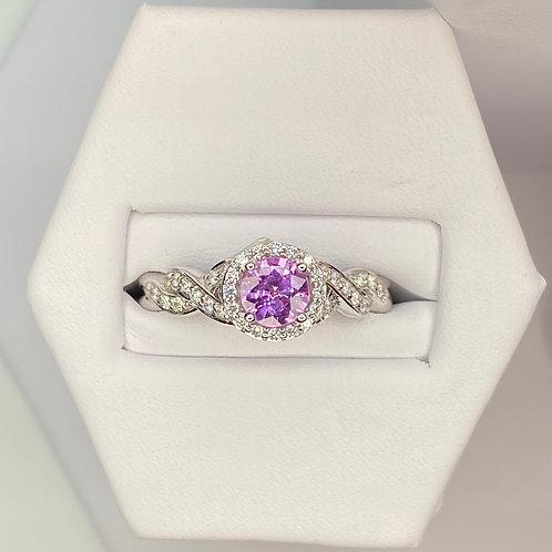 Transelco Pink Sapphire and Diamond Ring