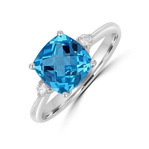 Empire Collection Cushion Blue Topaz Ring