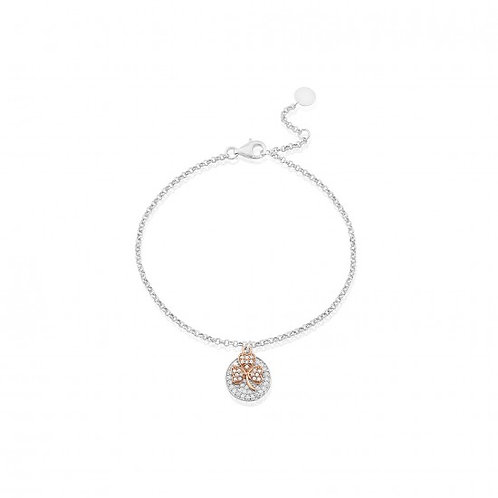 Waterford Rose Gold Shamrock Charm Bracelet with Stone Disc Set
